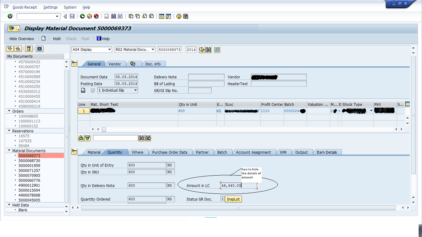 MIGO Disable the View for Amount in LC in SAP MM