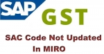 SAC code not updated in MIRO for PO service