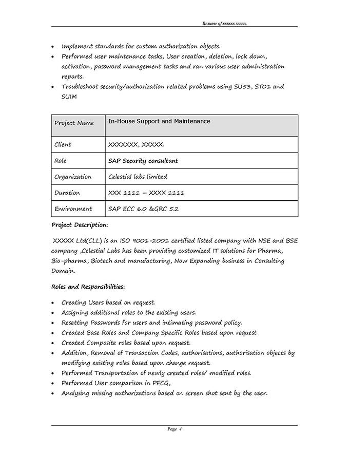 sap grc security sample resume 3 10 years experience