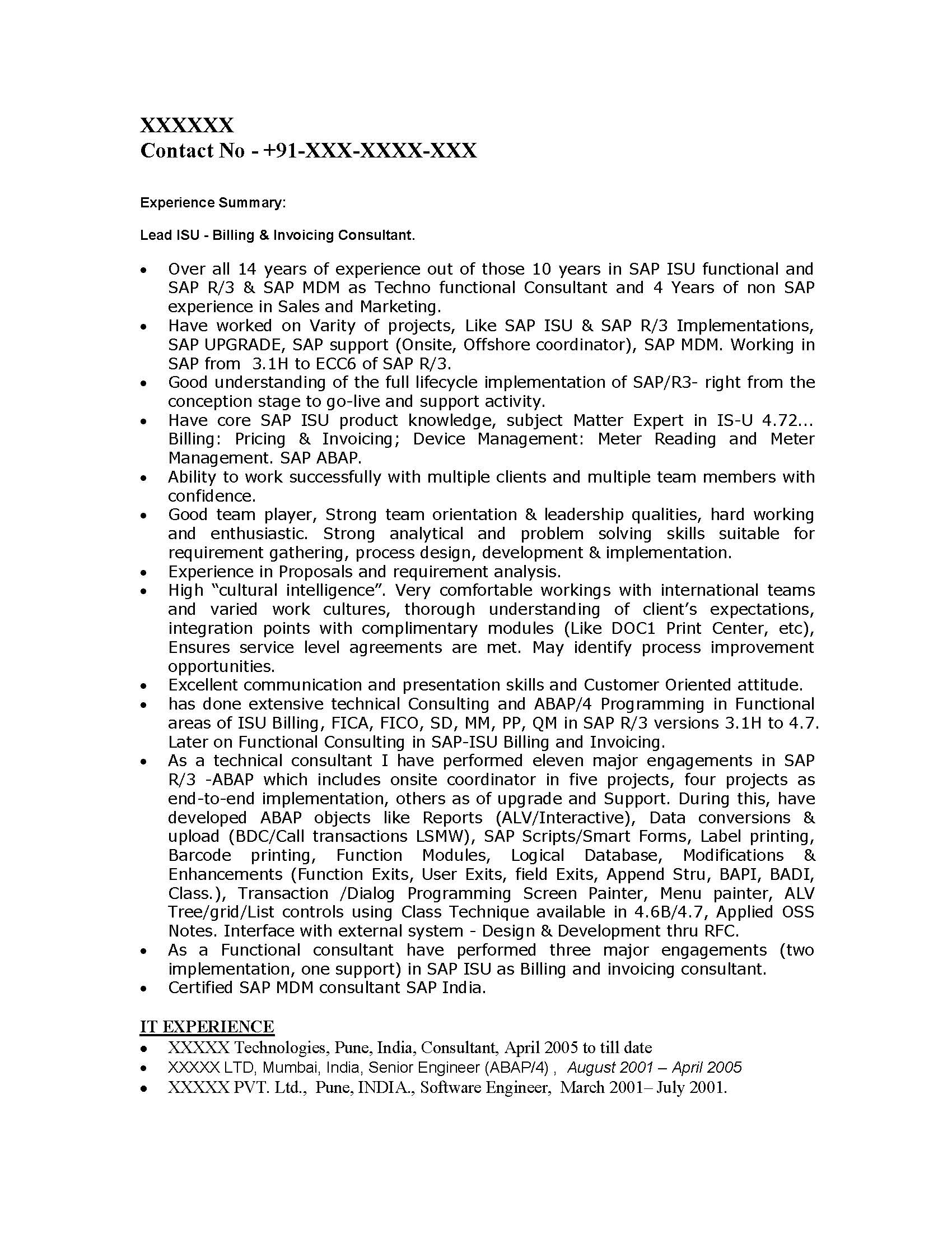 sample security consultant resume sample resume resume template - Sap Resume Sample