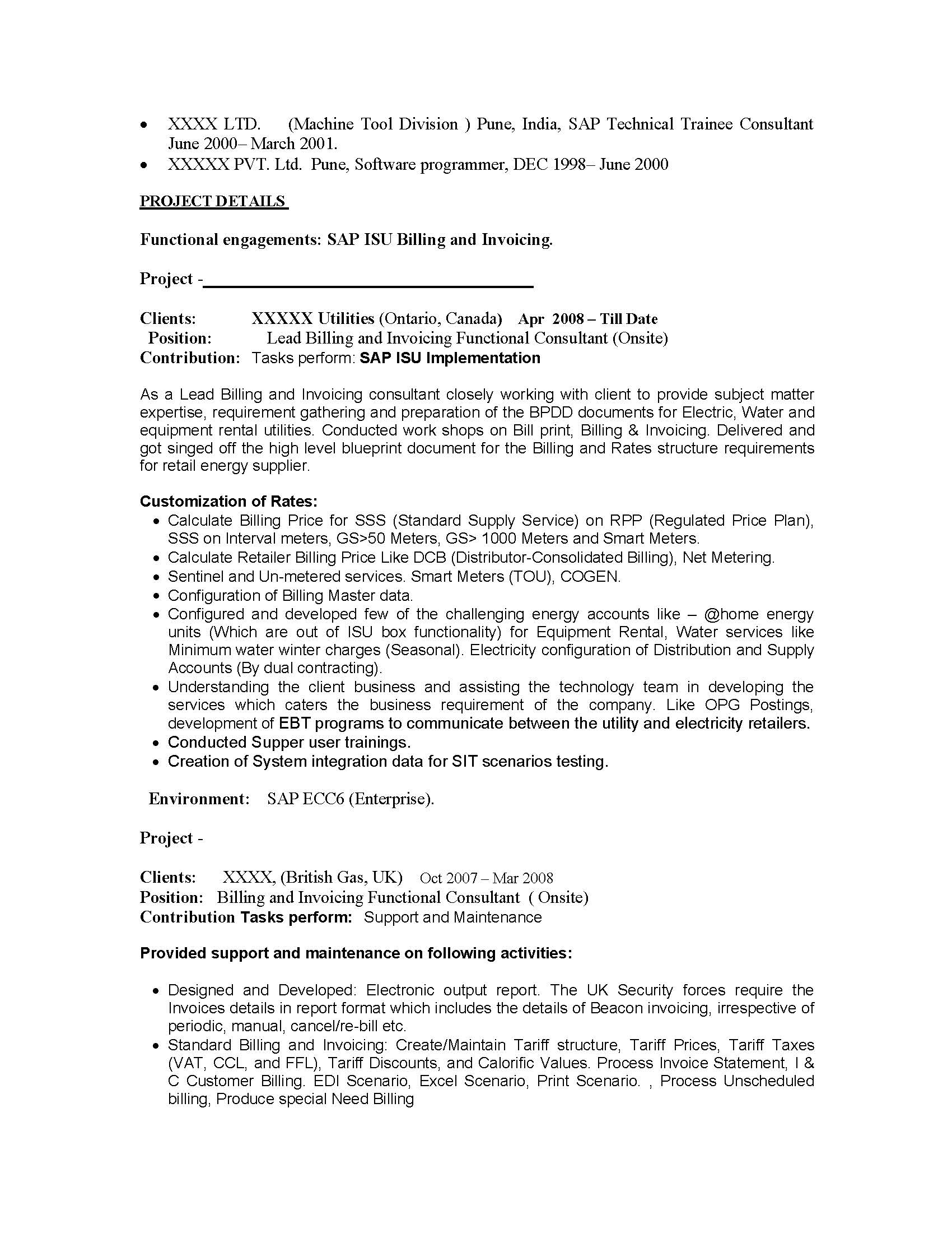sap basis resume resume cv cover letter - Sample Sap Resume