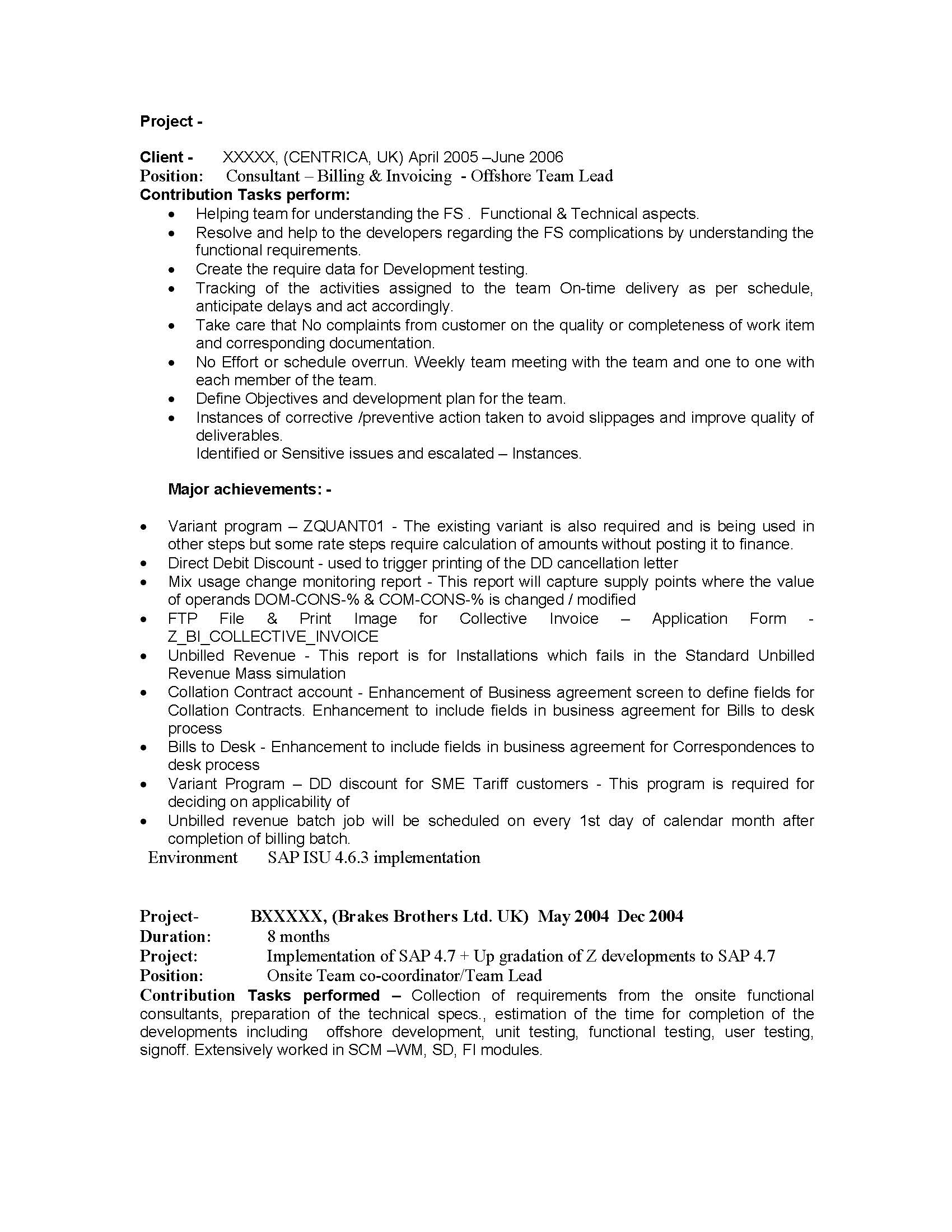 SAP IS (Industry Solutions) Sample Resume 14.00 years experience