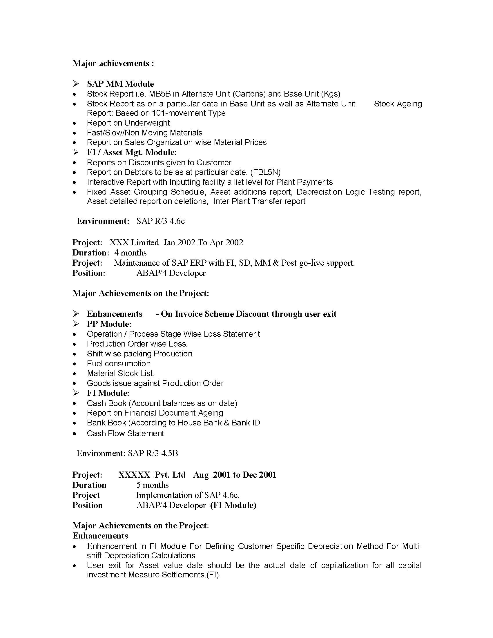 sap is industry solutions sample resume years