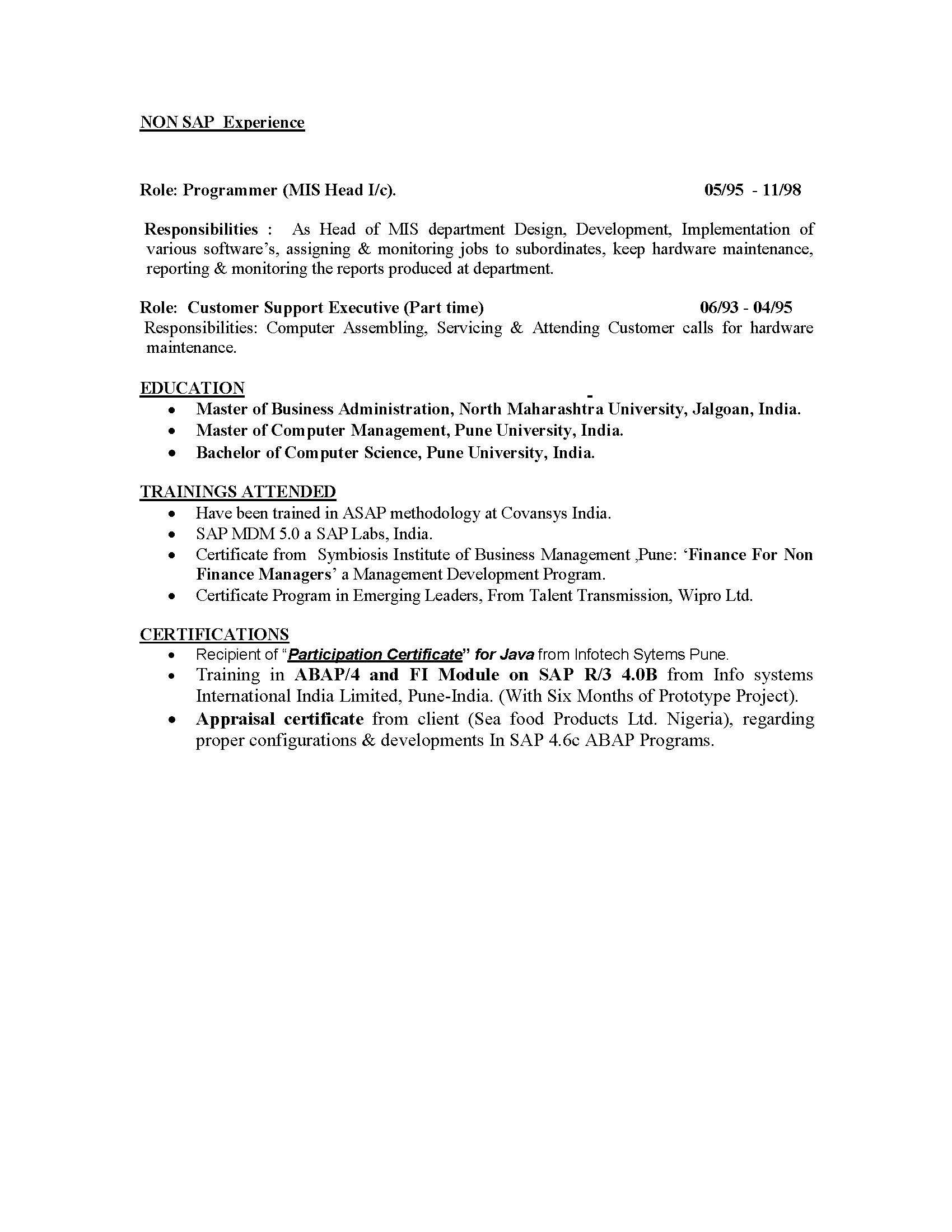 isu billing and invoice consultant sample resume - Sap Administration Sample Resume