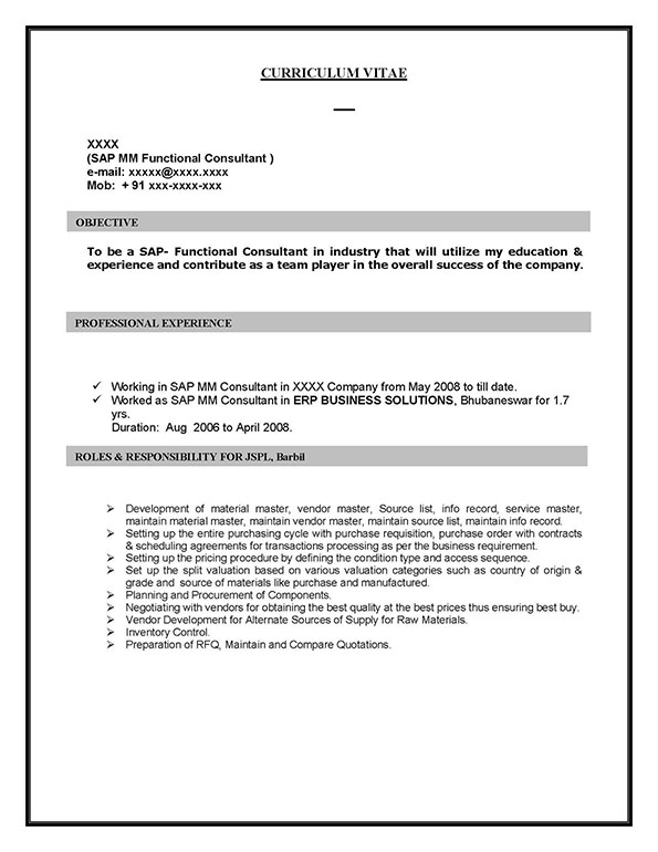 sample resume for sap abap 1 year of experience - sap mm materials management sample resume years