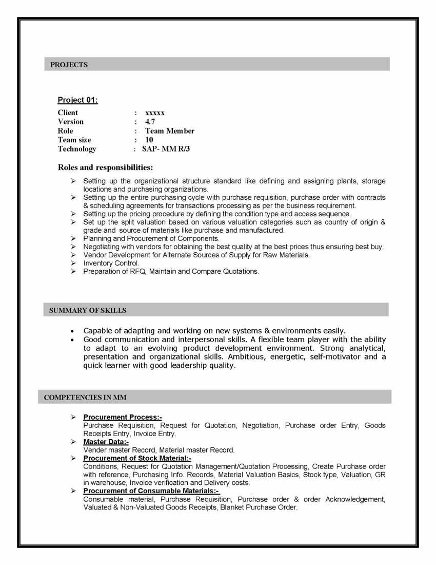 sap mm materials management sample resume years