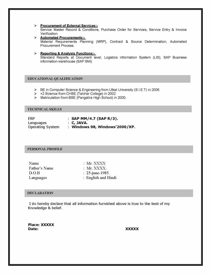 SAP MM (Materials Management) Sample Resume 10.00 years experience