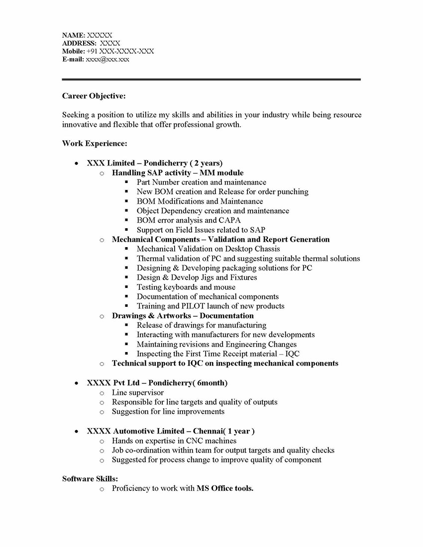 Sap mm materials management sample resume years for Two years experience resume sample