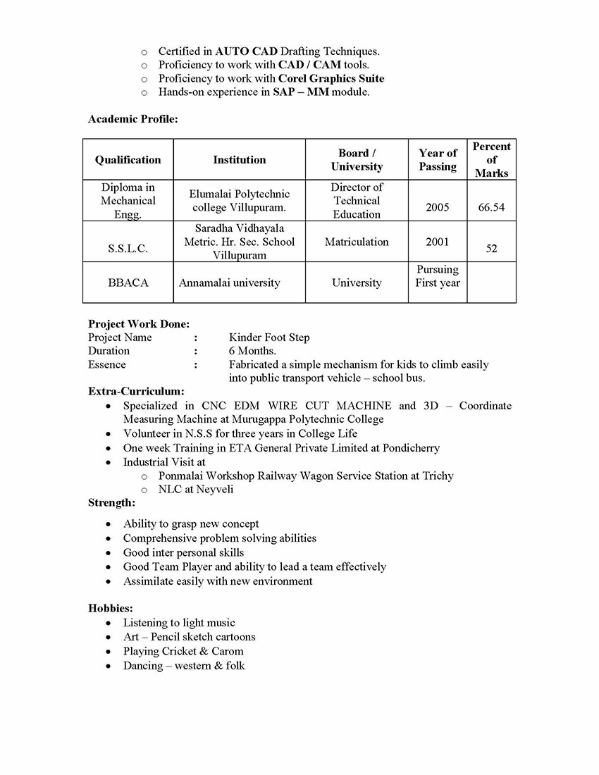 Sap Mm Materials Management Sample Resume 3 06 Years Experience