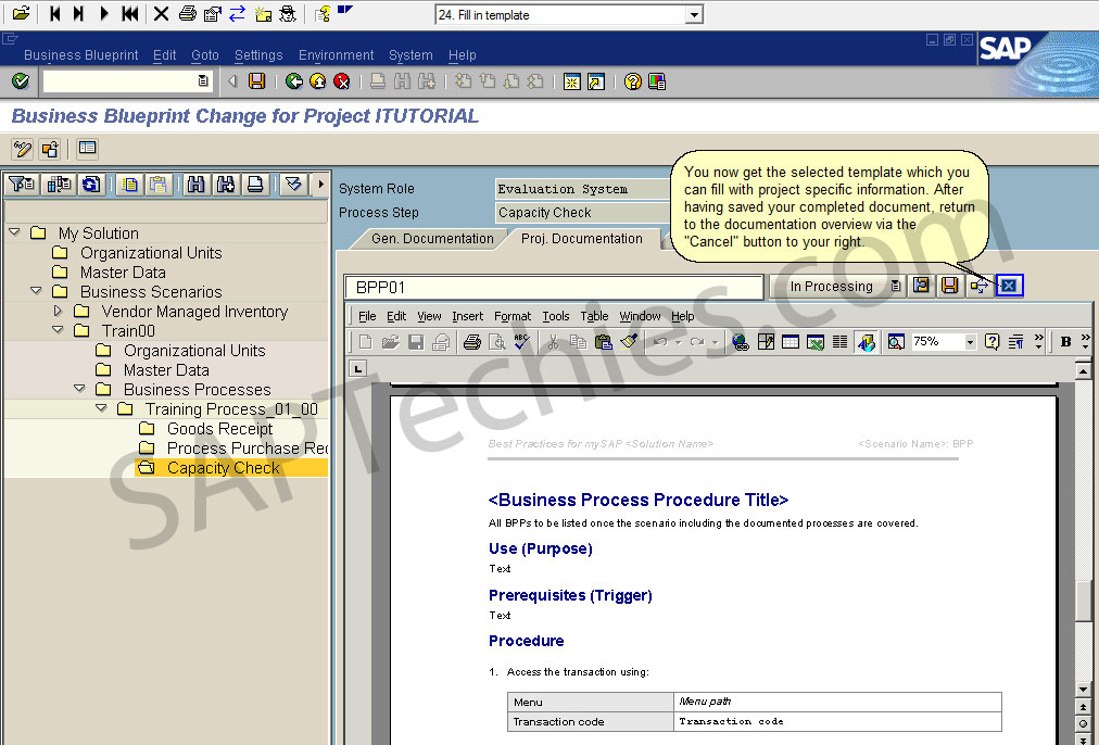 Define business blueprint sap solution manager 31 business blueprint change for project itutorial after having saved your completed document return to the documentation overview via the cancel button to malvernweather Images