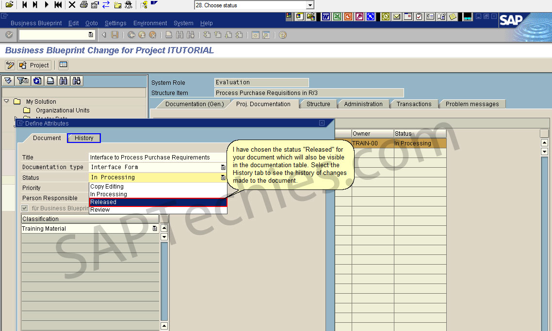 Define business blueprint sap solution manager 31 business blueprint change for project itutorial the history tab provides information on the latest changes made to the document malvernweather Choice Image