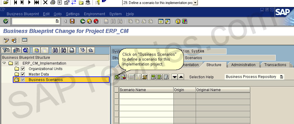 How to create a project for the implementation of an erp process business blueprint change for project erpcm click on business scenarios to define a scenario for this implementation project malvernweather Choice Image