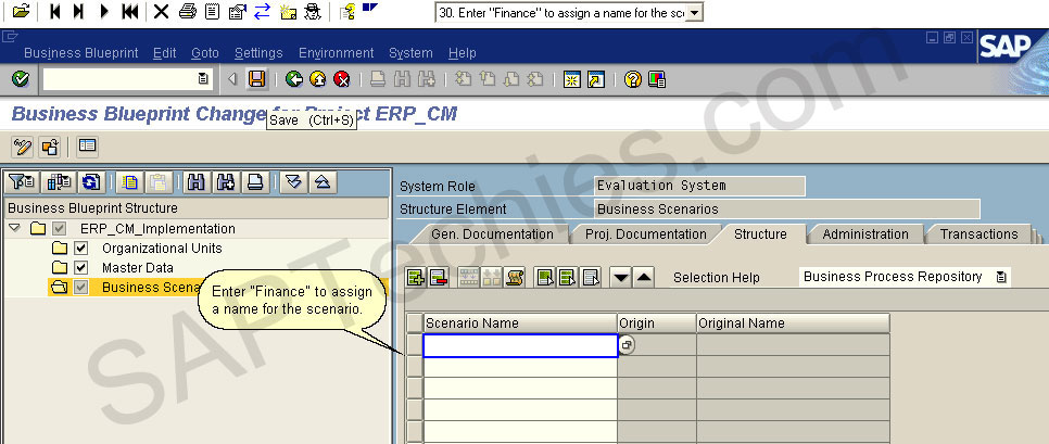 How to create a project for the implementation of an erp process click on save to confirm the defined scenario and taken on the structure of the scenario in the business blueprint malvernweather Choice Image