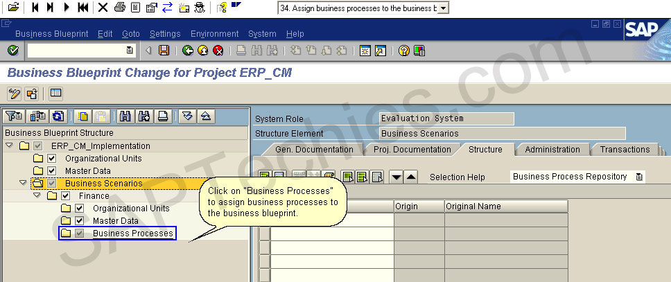 How to create a project for the implementation of an erp process business blueprint change for project erpcm click on business processes to assign business processes to the business blueprint malvernweather Choice Image