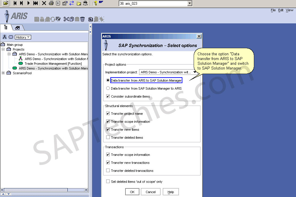Synchronization between aris and sap solution manager stechies choose the option data transfer from aris to sap solution manager and switch to sap solution manager malvernweather Choice Image
