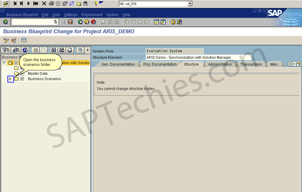 Synchronization between aris and sap solution manager business blueprint change for project arisdemo open the business scenarios folder malvernweather Choice Image