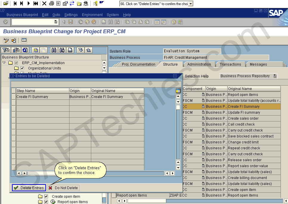 How to create a project for the implementation of an erp process business blueprint change for project erpcm click on delete entries to confirm the choice malvernweather Images
