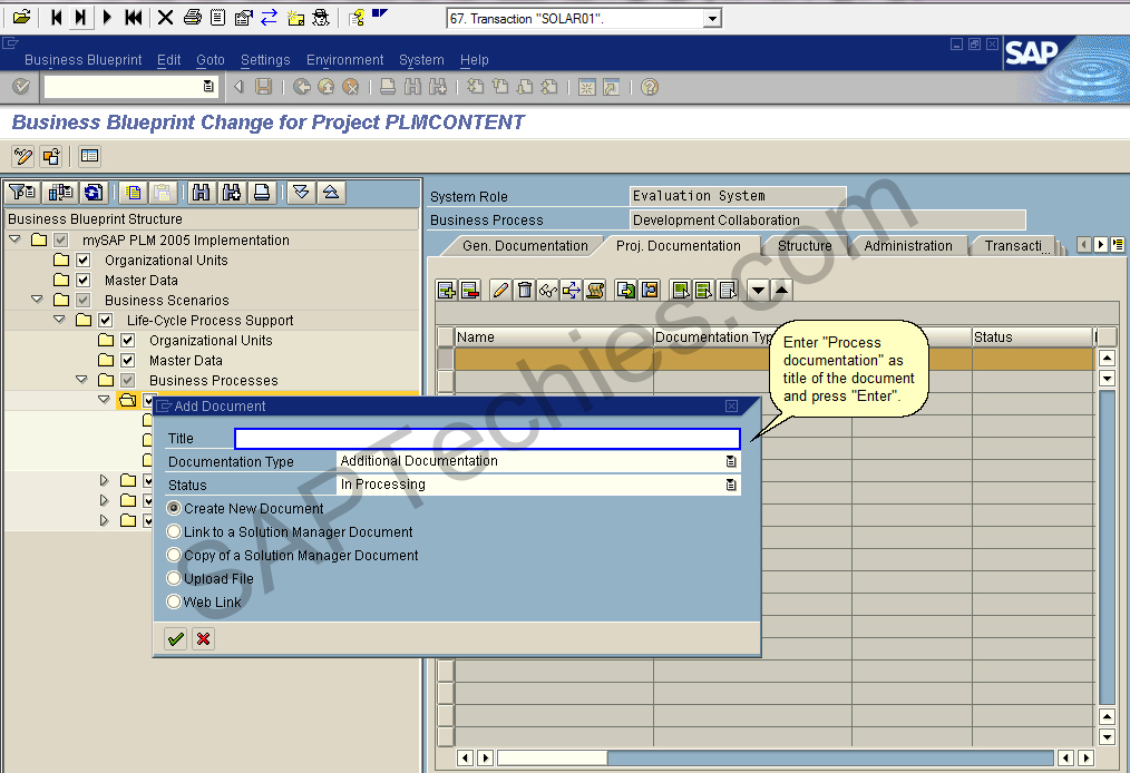 Define blueprint scope by creating a mysap plm 2005 business business blueprint change for project plmcontent click on drop down menu to choose the type of the document malvernweather Choice Image
