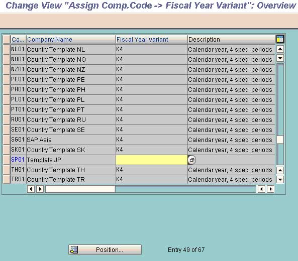 assign the fiscal year variant to a co code in sap fico
