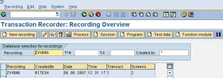 Transaction Recorder Recording Overview
