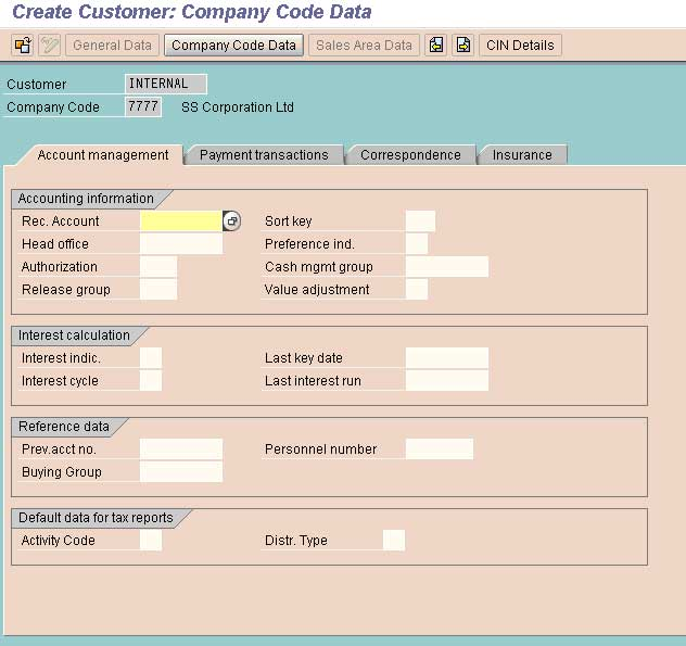 Create Customer Master Record