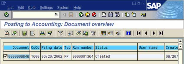 Posting to Accounting: Document Overview