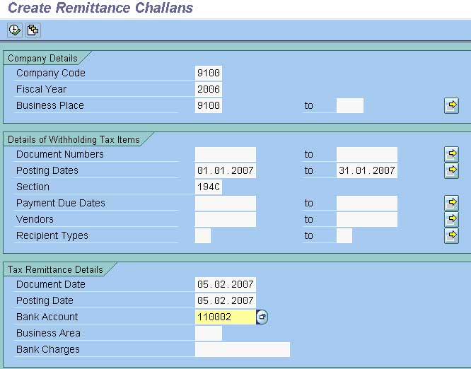 create remittance challan accounting in sap fico