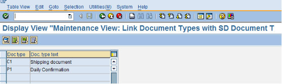 Maintenance View: Link Document Types with SD Documents Types