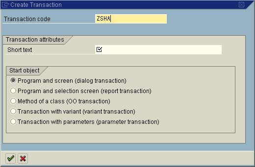 Create Transaction Code