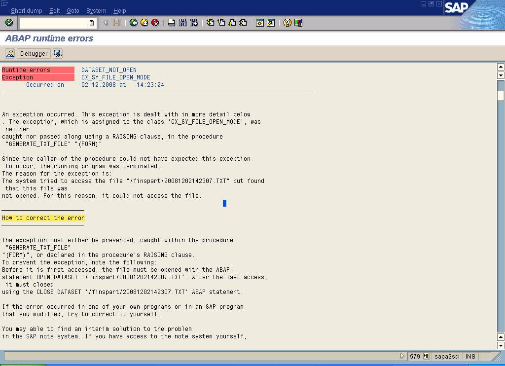 Abap Runtime error: DATASET_NOT_OPEN in SAP ABAP