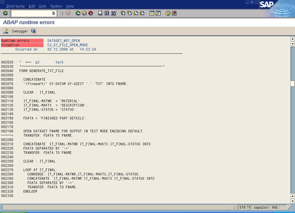 abap runtime error  dataset not open in sap abap