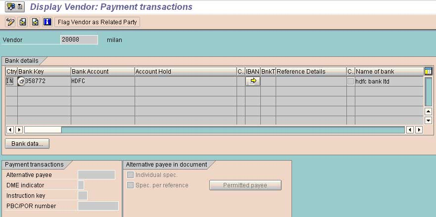 bank payment details