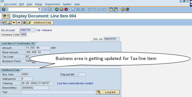 Business area assignment in tax line items in SAP FICO