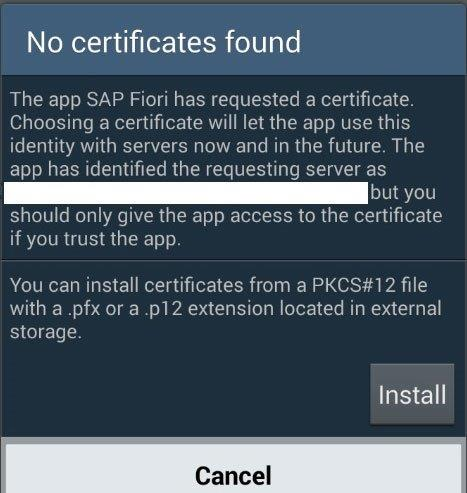 No certificate found\' error for Fiori client on Android device