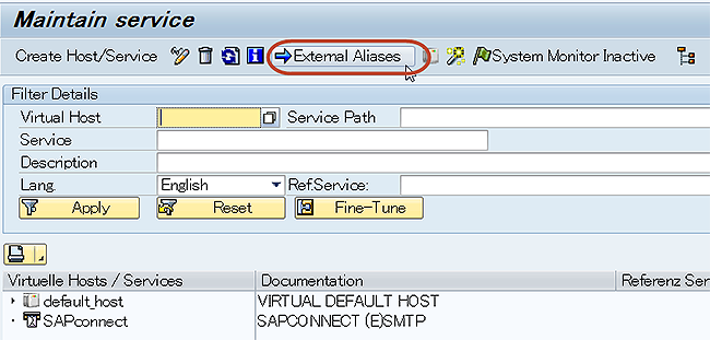 How to create external aliase in transaction code SICF in SAP ABAP