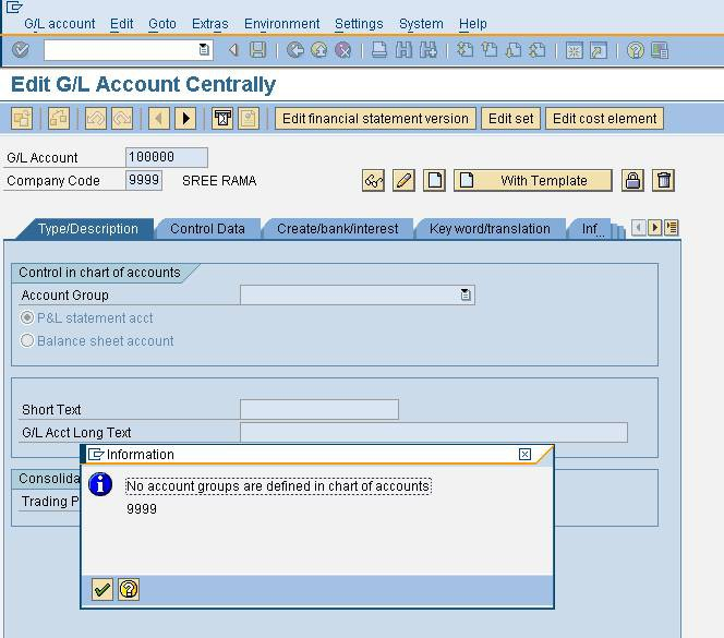 Error No account groups are defined in chart of accounts in