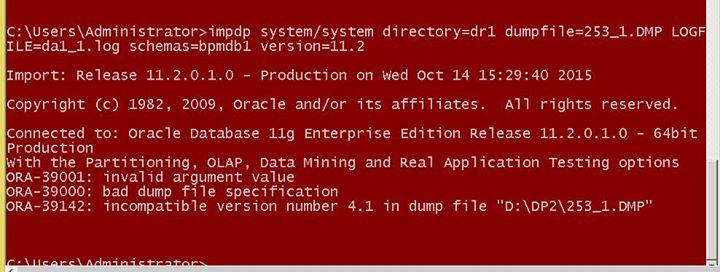Import Oracle 12C Dump in 11 2 Database?