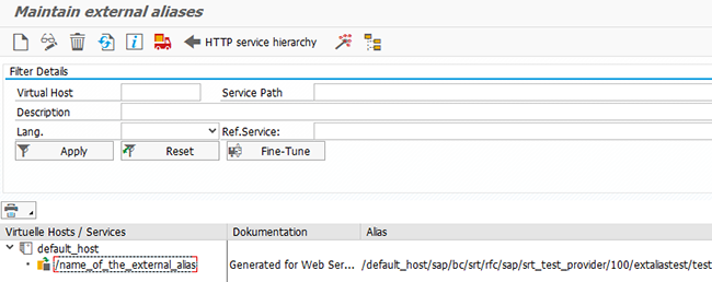 How to create an ICF External Alias for a Web Service