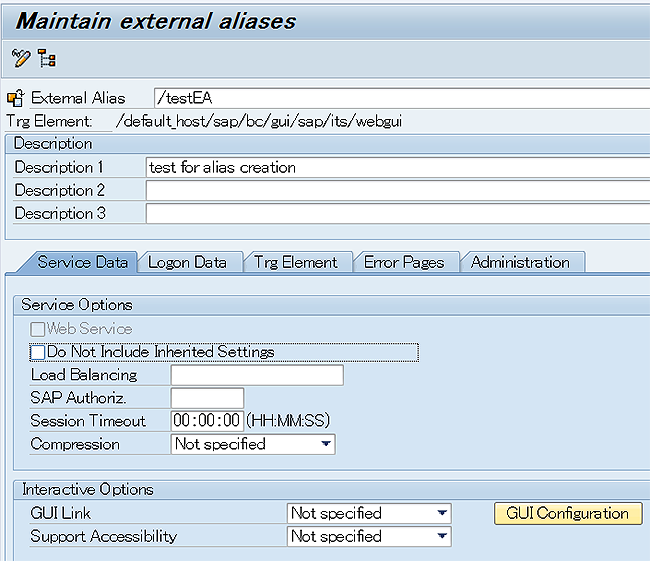 How to create external aliase in transaction code SICF in
