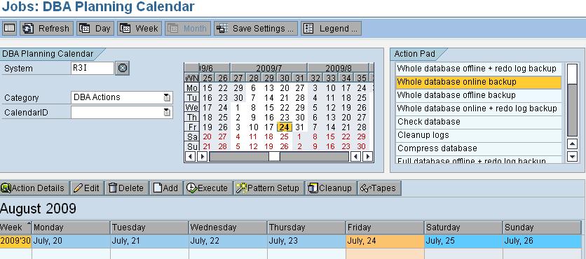 db13 - define backup schedule in sap basis