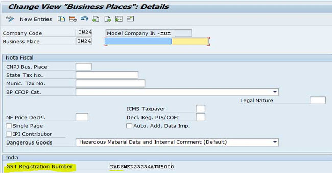 GSTIN number cannot be saved in Business place view
