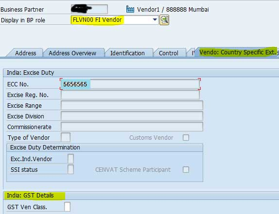 GST S4HANA Master Data Configuration