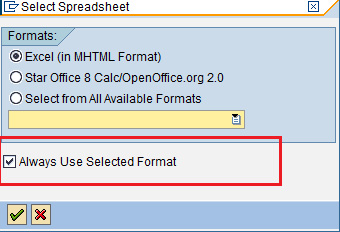 Get Back different download options from SAP to excel