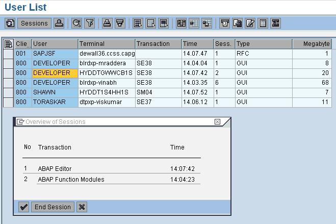 sm04   al08 in sap basis