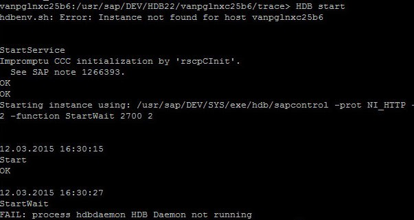 Error 'FAIL: process hdbdaemon HDB Daemon not running' in SAP HANA