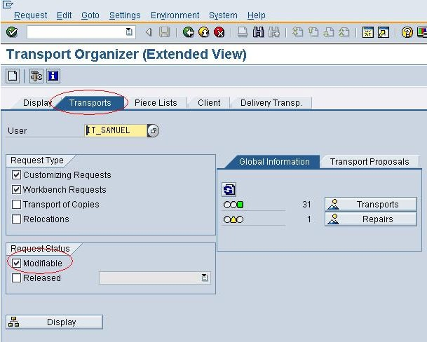 SE01 Transport Organizer (Extended) in SAP ABAP