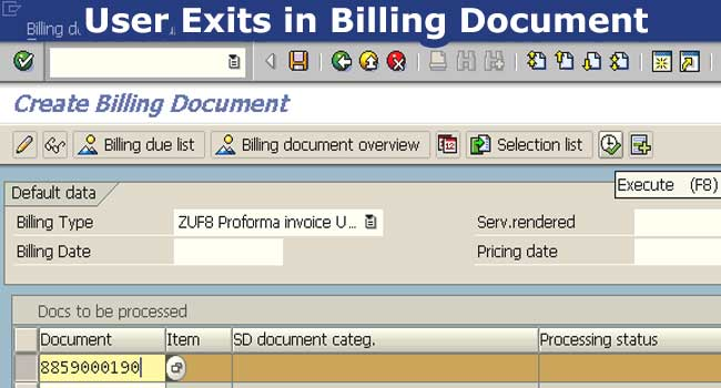 User Exits in Billing Document in SAP SD