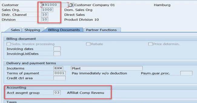 Define Account Assignment Group in SAP SD