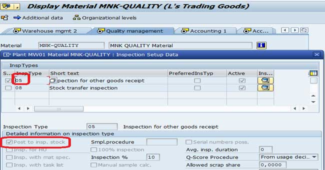 Change Inspection Stock of Material in SAP QM