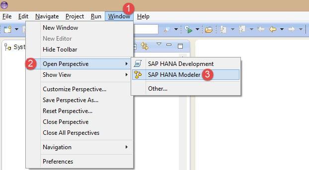 SAP HANA Studio-Perspectives   Modeler perspective